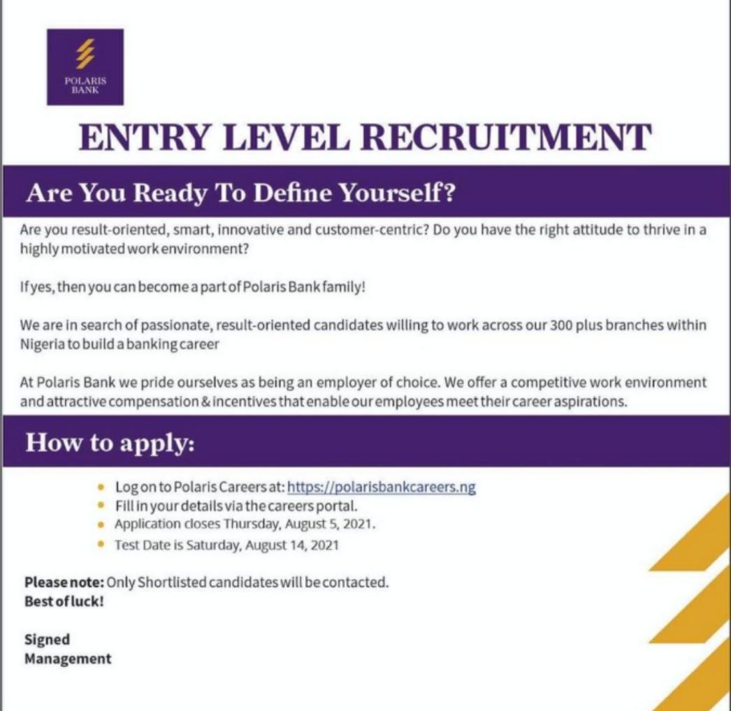 Polaris Bank Limited Nationwide Entry Level Recruitment 2021: https://e-recruiter.ng/portal/polaris/register