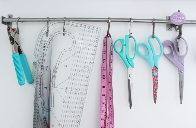 Scissors and pattern tools hanging up