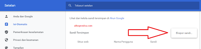 Cara ekspor username dan password google chrome