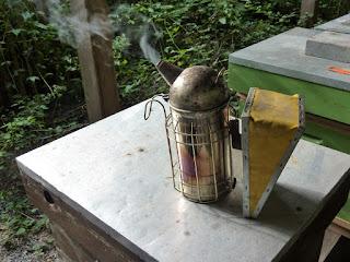 Enfumoir sur le toit d'une ruche