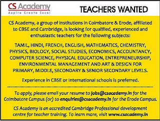 Teachers Job at CS Academy(CBSE) for PGT/TGT/PRT Teachers