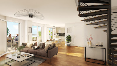 Perspective 3d salon appartement neuf promotion