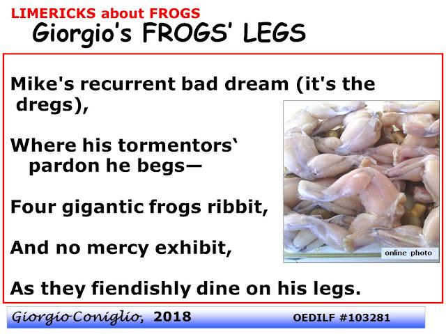 limerick; frogs; cuisine; frog legs; ecology; Giorgio Coniglio