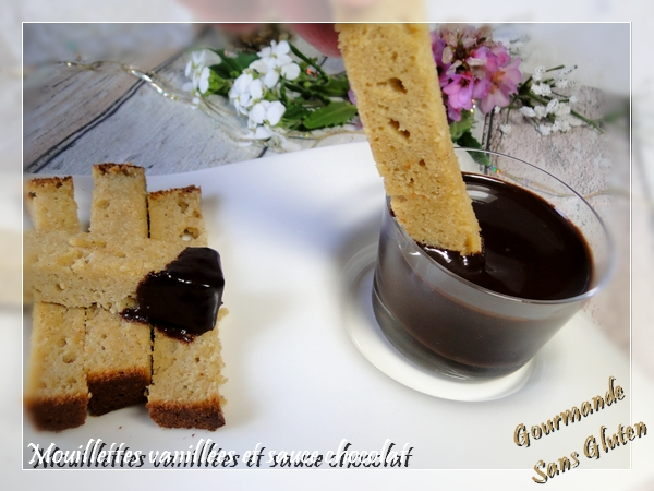 Mouillettes vanillées et sauce chocolat sans gluten