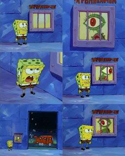 Polosan meme spongebob dan patrick 153 - spongebob terjebak di rock bottom bersama ikan bermata besar guna untuk menyetop bus