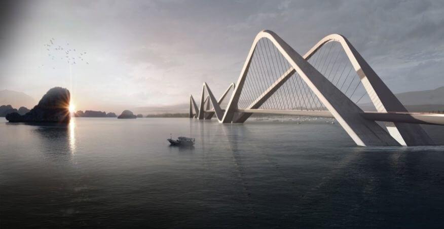 Cầu thiết kế theo phương án dây văng.