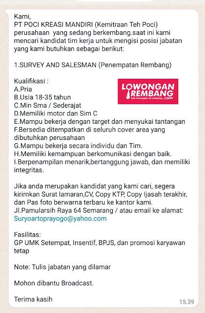Lowongan Kerja Survey and Salesman Teh Poci Rembang