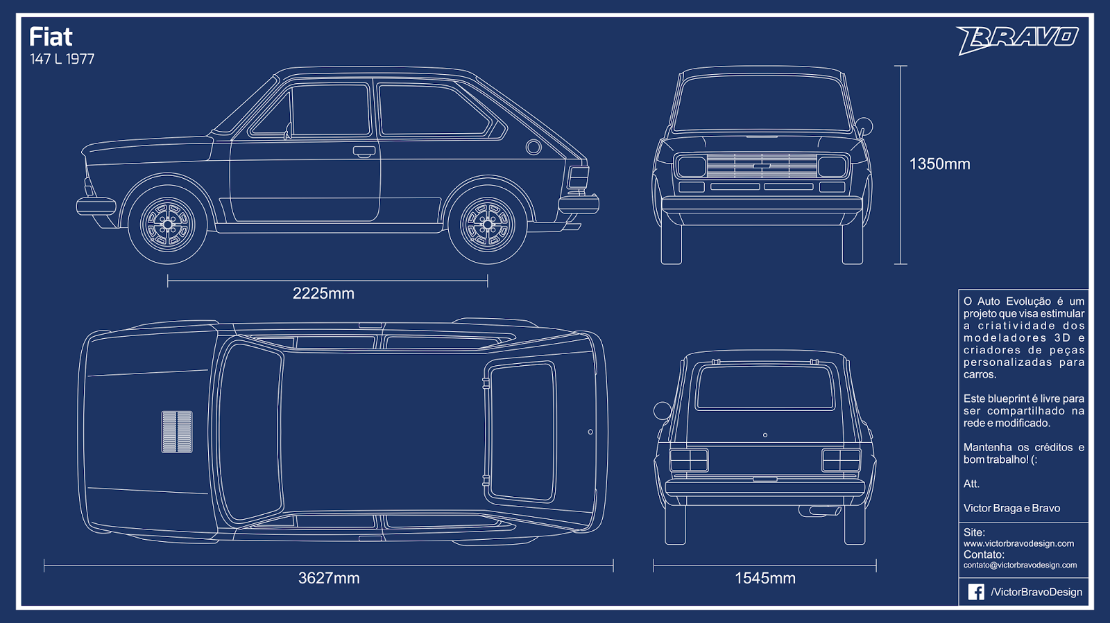Imagem do blueprint do Fiat 147 L 1977