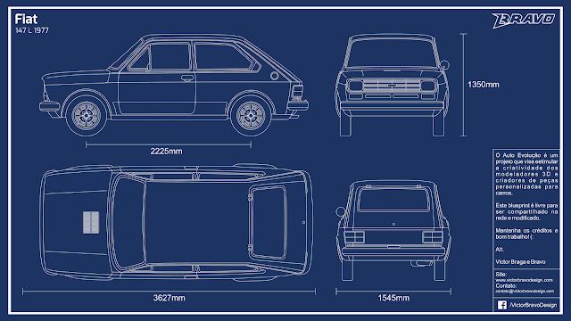 Imagem do blueprint do Fiat 147 L 1977