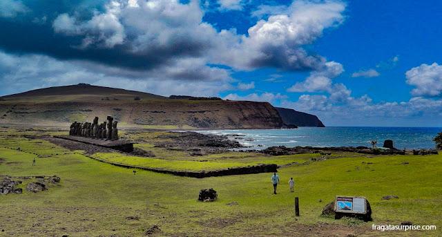 Ahu Tongariki, a maior plataforma de moais ainda de pé na Ilha de Páscoa
