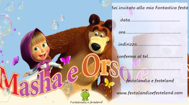 Festalandia e Festeland: inviti compleanno Masha e Orso