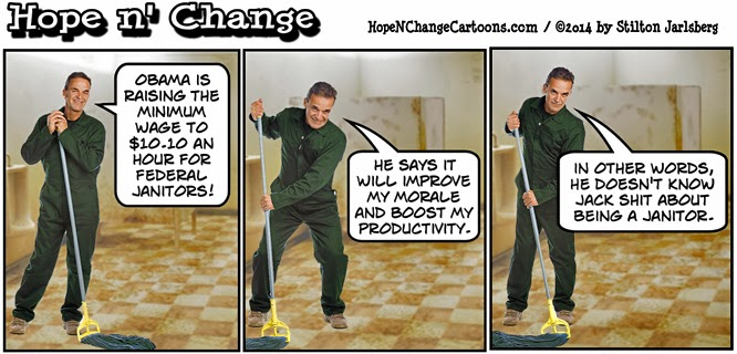 obama, obama jokes, cartoon, humor, conservative, hope n' change, hope and change, stilton jarlsberg, state of the union, minimum wage, janitors, jobs