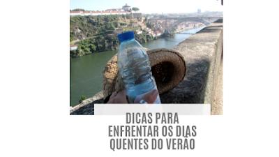 agua e chapeu em dia quente no Porto