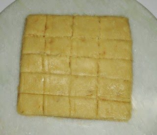 mixture rolled and cut into squares