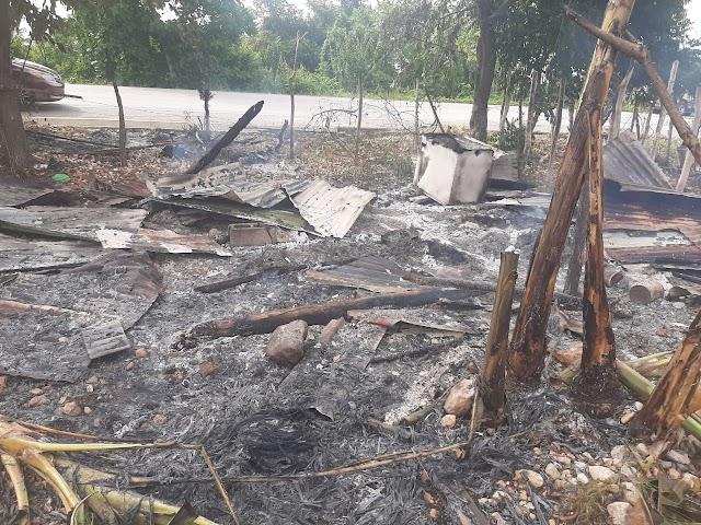 Le pegan candela a viviendas  y siembras para desalojar familias en el Arrollo, Barahona.