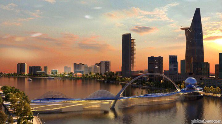 Phối cảnh thiết kế cầu đi bộ qua sông Sài Gòn