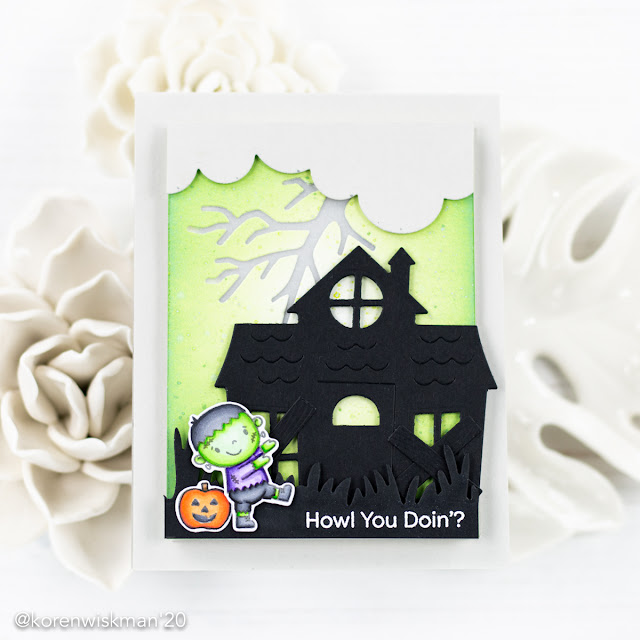 my favorite things, pear blossom press, boo crew, haunted house, ez lights, ink blending, distress oxide background, interactive card, light up card, frankenstein, monster, tombow abt pro markers, alcohol markers, your next stamp, cloud edge, grassy edge border die, die cutting, ink splattering,