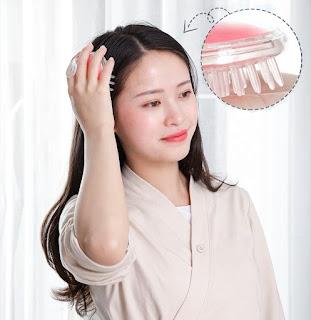 Sisir Keramas Rambut Silikon Sikat Pijat Kepala Shampo Massage Brush