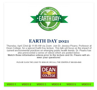 Earth day Lecture Apr 22 - preregister before Tuesday, Apr 20