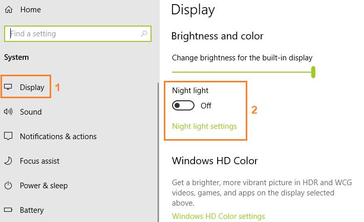 Pengaturan untuk aktifkan Night Light di Windows 10