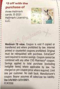 $3.00/2 Hallmark Greeting Card CVS crt Coupon (Select CVS Couponers)