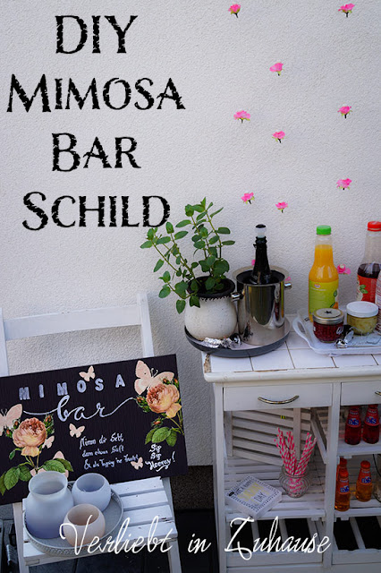 DIY Mimosa-Bar-Schild selbermachen von Verliebt in Zuhause