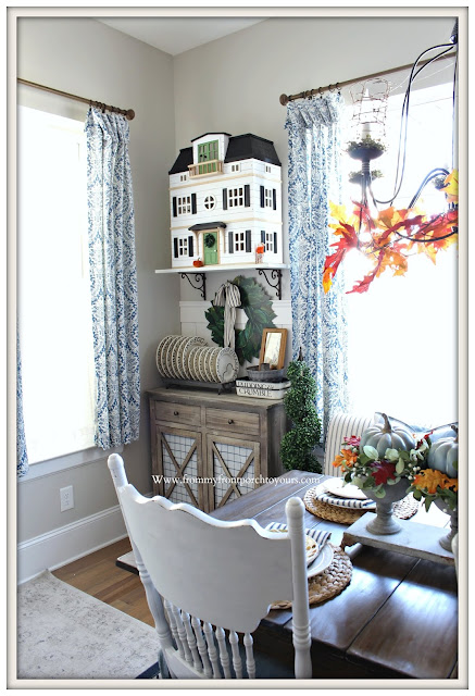 Fall Breakfast Nook Decor-Joanna Gaines-Emma Bridgewater-Farmhouse Style-Cottage-Doll House-Magnolia Home-From My Front Porch To Yours