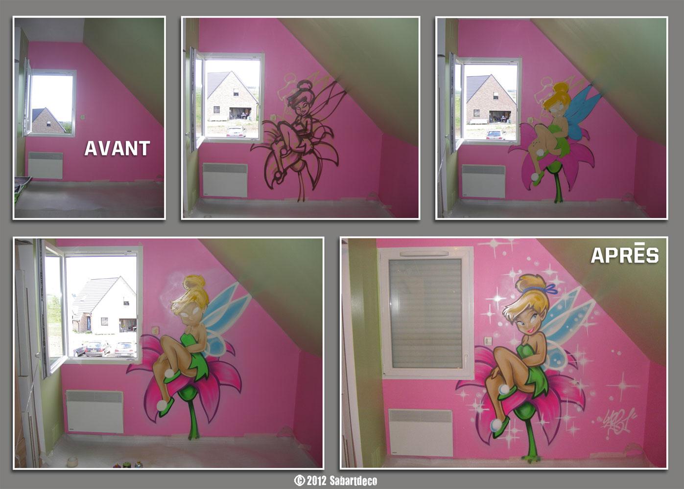 """Décoration dune chambre enfant sur le thème """" Fée clochette"""