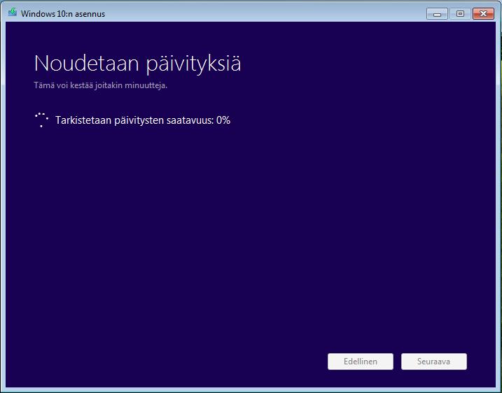 windows 10 päivityksen kesto