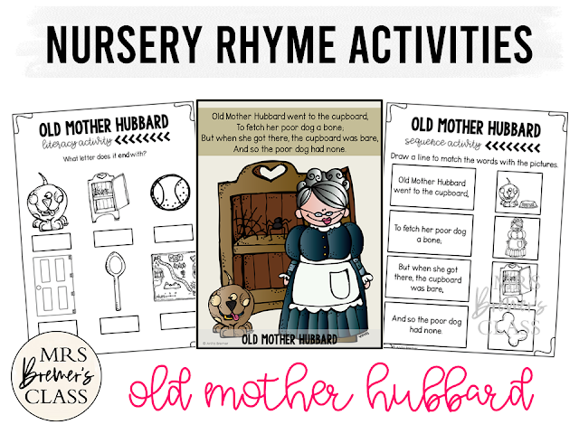 Old Mother Hubbard activities unit with literacy and math Common Core aligned companion activities for Nursery Rhymes in Kindergarten