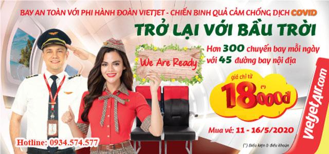 Vé máy bay trong nước của Vietjet Air giá rẻ chỉ 18.000 đ