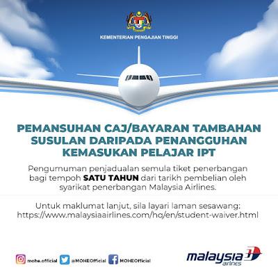KPM Mengumumkan Syarikat Penerbangan Menyediakan Kemudahan Pertukaran Tarikh Penerbangan Tanpa Had