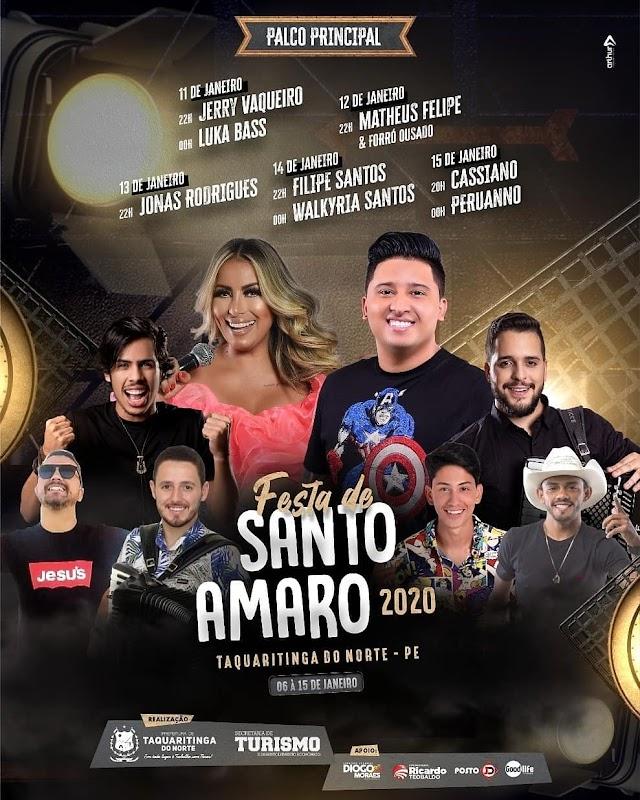 Confira a programação completa da Festa de Santo Amaro 2020, em Taquaritinga do Norte