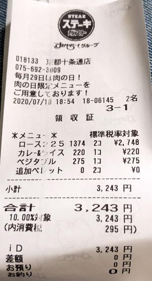 ステーキガスト 京都十条通店 2020/7/18 飲食のレシート