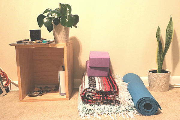 Photo of an at-home yoga practice area