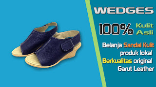 Sandal wedges wanita kulit sapi