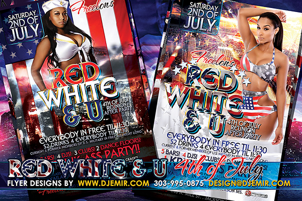 Red White And U 4th of July Flyer Design 2016
