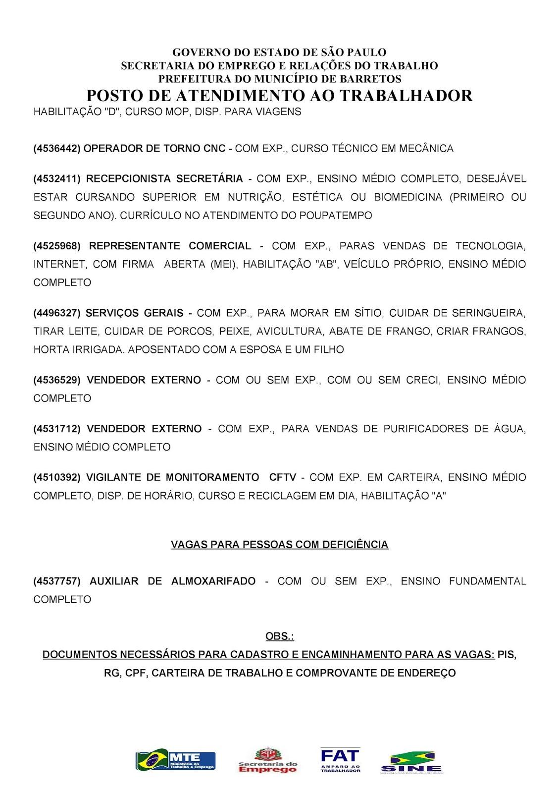 VAGAS DE EMPREGO DO PAT BARRETOS-SP PARA 19/06/2018 TERÇA-FEIRA - PARTE 2