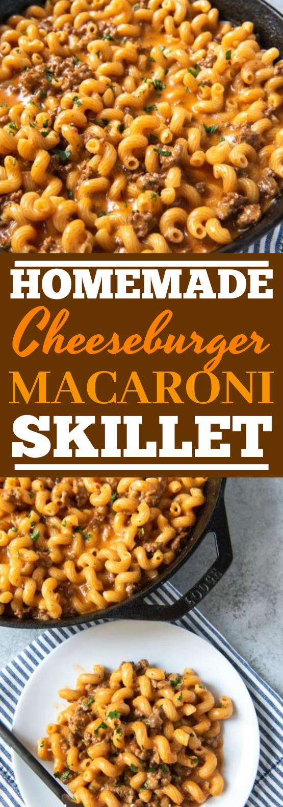 Homemade Hamburger Helper Cheeseburger Pasta Skillet #dinner #pasta