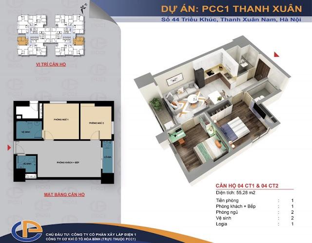 Mặt bằng căn hộ số 04 diện tích 55,28m2 chung cư PCC1 - 44 Thanh Xuân