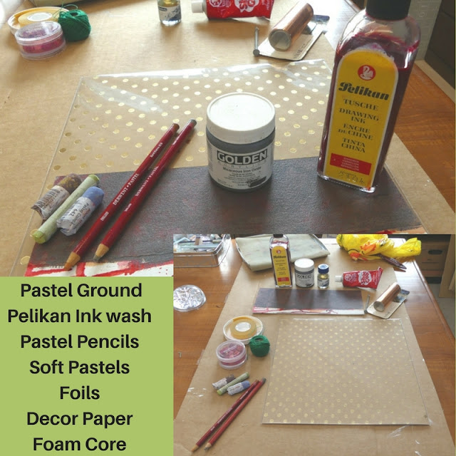 Preparing for art session with pastels.