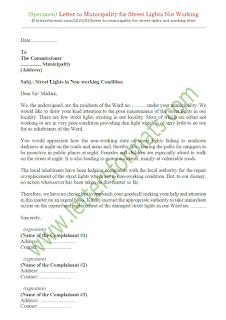 how to write a letter to municipal commissioner for street light