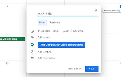 google takvim ileri tarihli davet