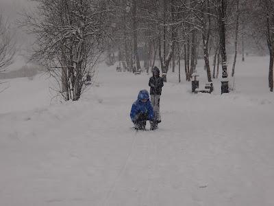 zima w Muszynie, ogrody w Muszynie, zimowe zabawy