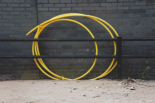 urban photography, urban photo, art, contemporary, yellow loop, Sam Freek, industrial, yellow, grey, black,