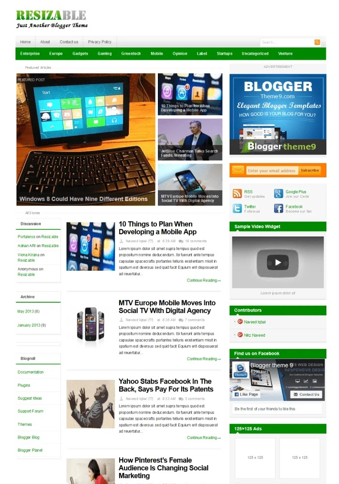 Resizable Fast Loading Blogger Templates