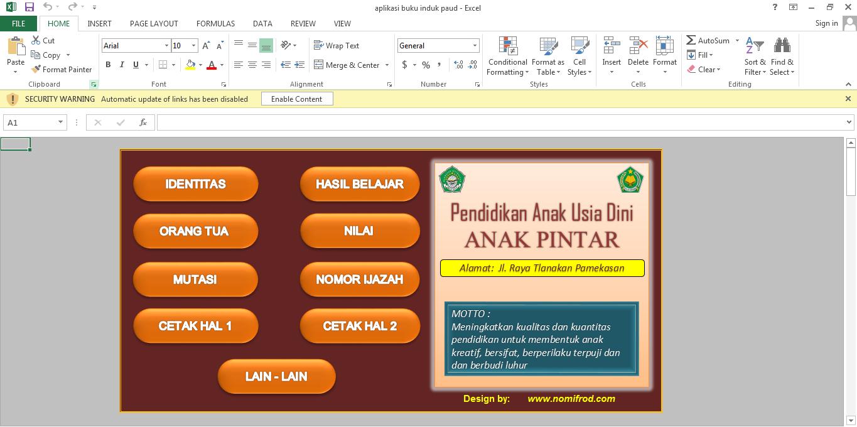 Aplikasi Buku Induk Tk Paud Otomatis Format Excell Url Guru