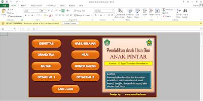 Aplikasi Buku Induk TK/PAUD Otomatis Format Excell