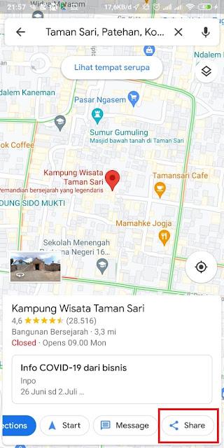 Cara Share Lokasi Google Maps ke WA 8