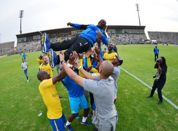 Mamelodi Sundowns celebrating their eighth PSL title